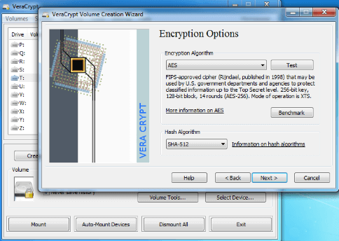 VeraCrypt user interface for Encryption